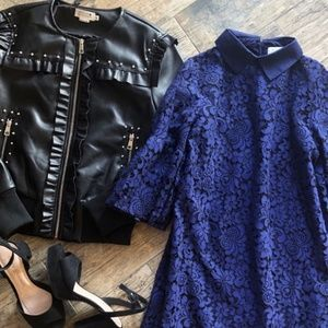 Boutique French Lace Navy Blue Shift Dress